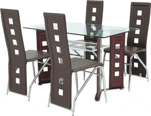 97404ac05fc Sale on costway 5 piece dining set glass metal table and 4 chairs ...