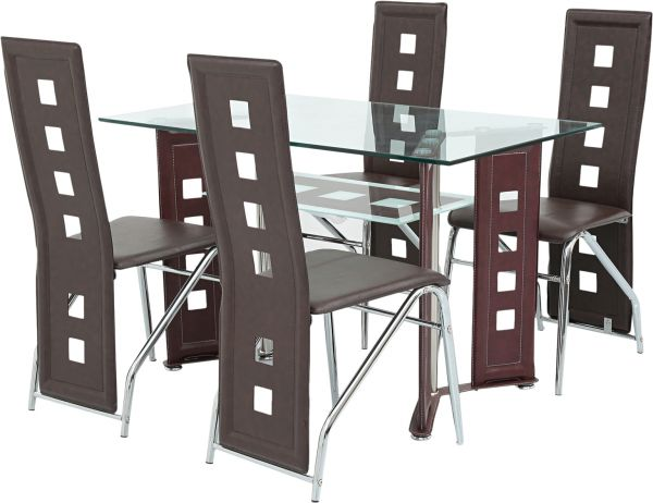 Aft 4 Seater Gl Dining Table With Chairs Mahogany Aftd4g