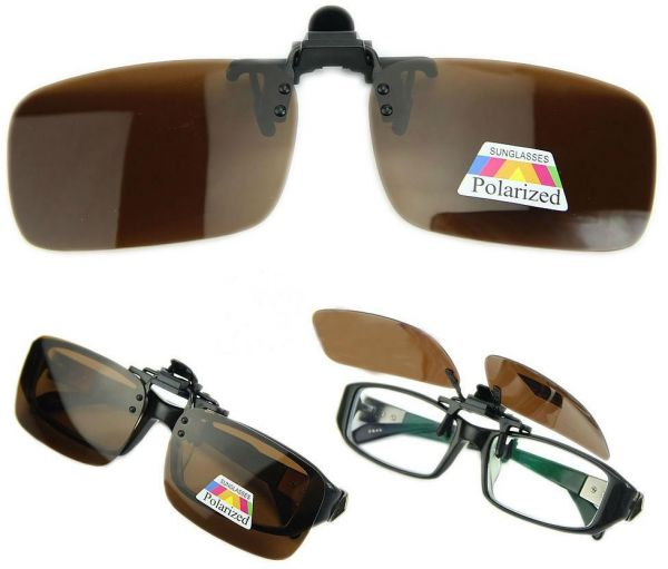 40bacc6da1 Brown Polarized Day Night Vision Flip up Clip on Lens Driving Sunglasses  Small Size