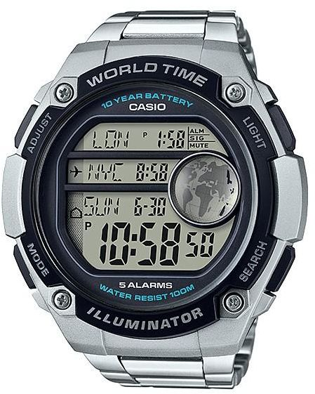 Casio World Map Watch.Casio World Time With Map Watch With 5 Alarms Ae 3000wd 1a Souq Uae