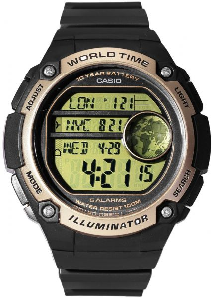 Casio World Map Watch.Casio World Time With Map Watch With 5 Alarms Ae 3000w 9a Souq Uae
