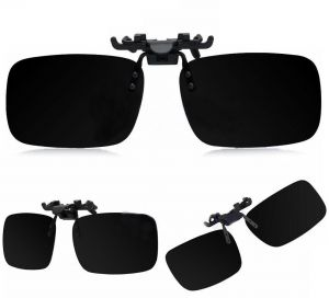 7174732a0b Black Polarized Day Night Vision Flip up Clip on Lens Driving Sunglasses L  Size  BTX-1