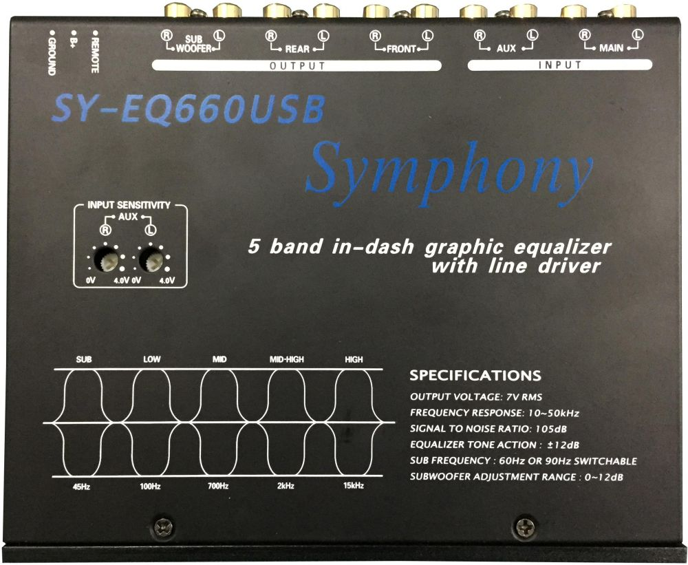 Symphony SY-EQ660USB 5-Band Graphic Equalizer  With USB And Remote Control