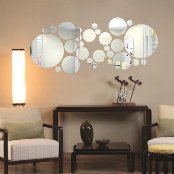 Diy Mirror Wall Sticker Removable Round Acrylic Decor Of Self Adhesive Circle For Art Window Home Decoration