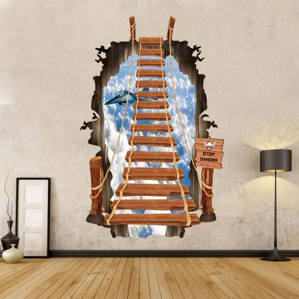 3d stair wall stickers pvc scaling ladder wall stickers 3 d ladder