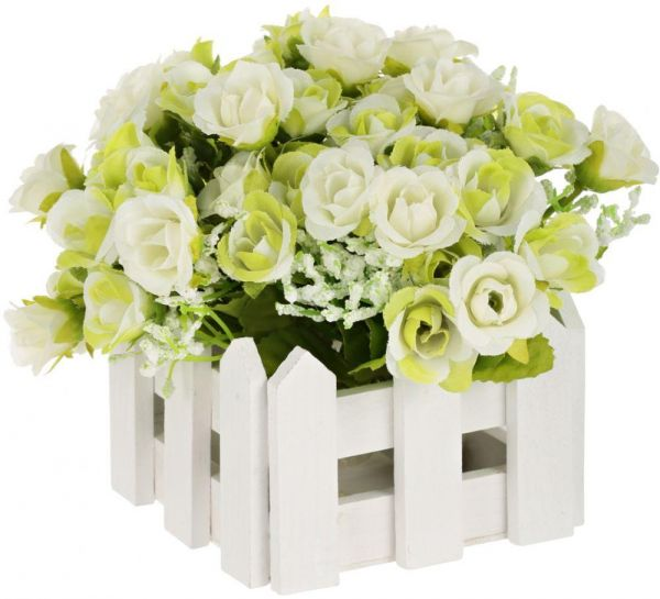 Wooden Fence Vase With Plastic Flowers White Color Souq Uae