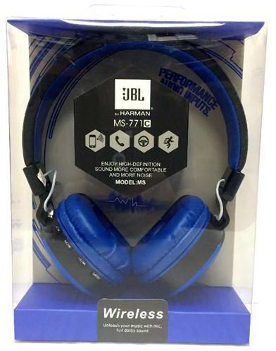 e3d131ab407 JBL MS-771C Wireless/ Bluetooth Headset with FM , SD Card for music ,  calling, Built-in buttery ,(Blue)