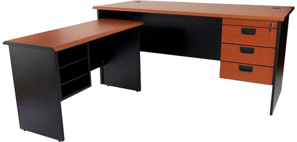Silini 160 Plain L Office Desk With Fixed Drawers By Mahmayi Cherry Black Souq Uae