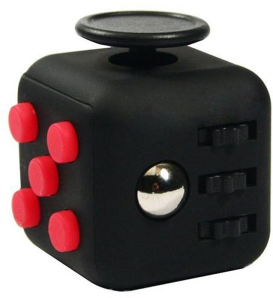 Focus Cube - Fidget Cube Toy For Anxiety Stress Relief Attention Focus For Children / Adult Gift ADHD-Black and Red