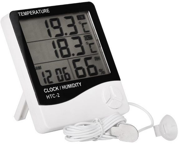 LCD Digital HTC-2 Thermometer Hygrometer Weather Station Temperature  Humidity Tester Clock Alarm Indoor Outdoor Probe  16752ec16ad72
