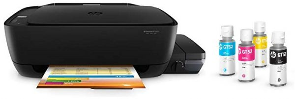 HP Deskjet GT 5820 All-In-One Printer and GT52 Black and GT52 Cyan,  Magenta, Yellow Ink Cartidges