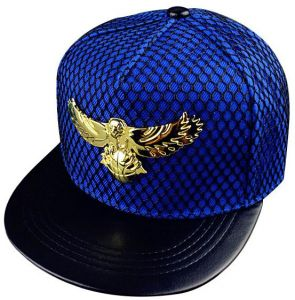 1113c97b259 Eagle Metal Mark Mesh Hip Hop Cap Sunscreen Baseball Hat - Blue