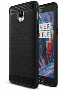 OnePlus 3/3T Case Ultra Thin Carbon Fiber Brushed Silicone Soft TPU Cover -Black
