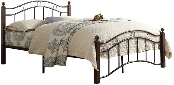 Steel And Wood Single Bed With Medical Mattress Black With Mahogany