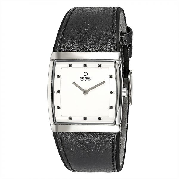 Obaku Women's White Dial Leather Band Watch - V102LCCRB