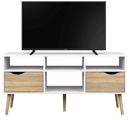 Tvilum Delta TV Table with 2 Drawers for 45 inch TV - White & Brown ‫(H 40 cm x W 60 cm x D 60 cm)