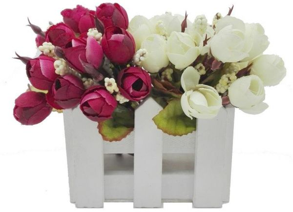 amytrade home decor artificial flowers in wooden fence maroon and