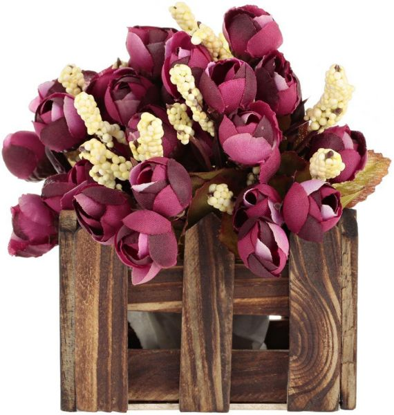 amytrade home decor artificial flowers in wooden fence maroon
