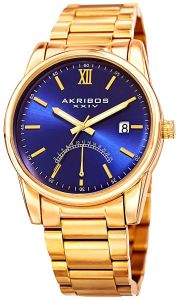 a6bcde97 Akribos XXIV 24 Hour Retrograde Indicator and Date Display Men's Blue  Stainless Steel Band Watch - AK962YGBU