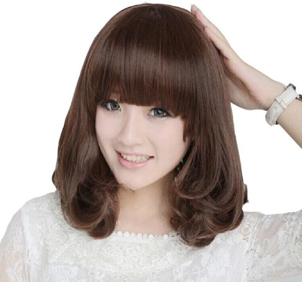 Qi Liu Hai Pear Flower Realistic Long Hair Short Curly Anese And Korean Wig Sets