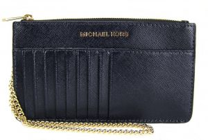 906c4582c Michael Kors 32F6GTVD8A Jet Set Travel Saffiano Leather Chain Card Case  Wallet - ADMIRAL
