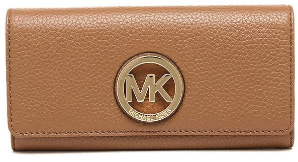 c84a9a206ec159 Michael Kors 35F0GFTE1L Leather MK Gold Logo Fulton Flap Continental ...