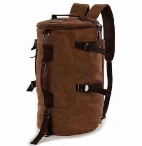 35cf8dea78 Men women Fashion Big Cylindrical backpack Canvas Leisure Travel Bag  computer bag School[Moy-BR15]