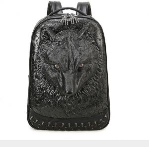 14d1bf1f2a Fashion shoulder bag unique personality 3D wolf backpack leather computer  bag outdoor school bag