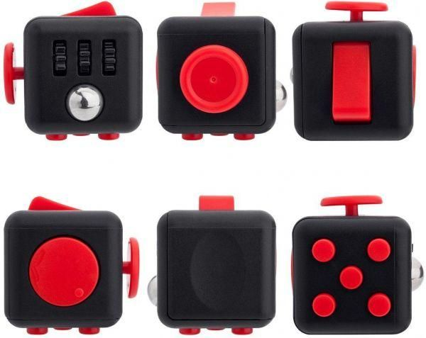 Black Red Desk spin toy Anxiety and Stress Relieve Fidget Cube Squeeze fun Fidget cube for adults kids