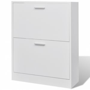 VidaHome Wooden Shoe Cabinet With Two Compartments, White