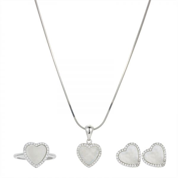 AK Jewels Silver 925 Heart Frame MOP with CZ Jewelry Set - 4 Pieces ...