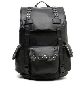Men British style punk trend rivet fashion shoulder bag leather backpack  travel bag schoolbag black 7bcf3c8d8d832