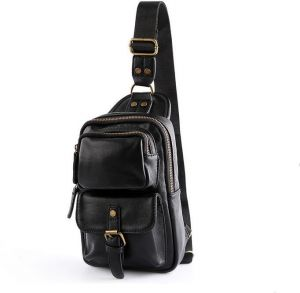 9d7a8d95d9f3 Leather men fashion casual bag chest pack ourdoor sport bag Shoulder Bag  small pocket CrossBody bag