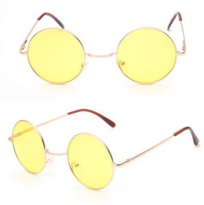 5fc8c39281794 sunglasses Fashion Unisex Men Women Eyewear Round Sunglasses Gold Frame  Ocean Yellow Lens