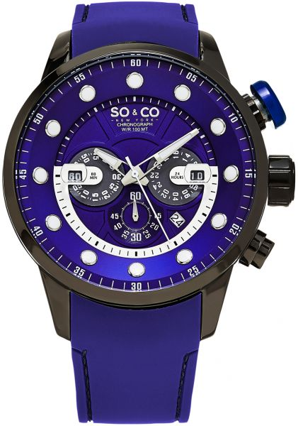 So & Co New York Monticello Men's Blue Dial Stainless Steel Band Watch - 5270.1