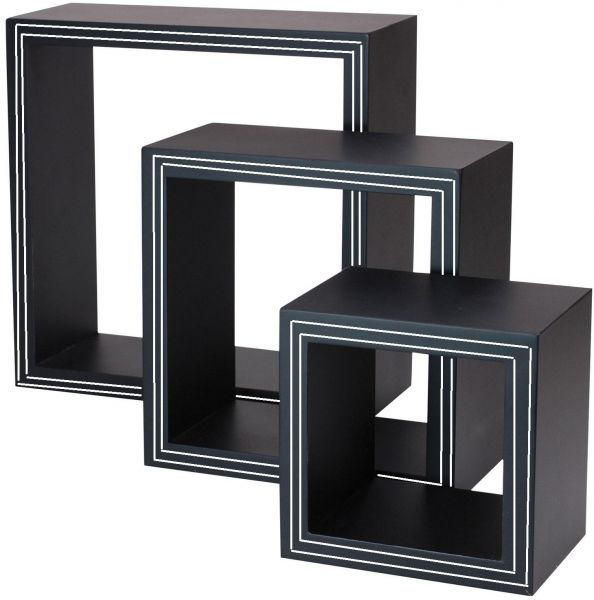 black cubic wall shelves with white stripes - set of 3 | معدات 3 Wall Shelves