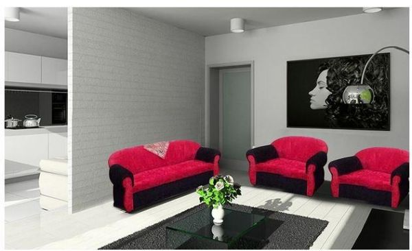 Contemporary Living Room Set In Black Red Or Cappuccino: Royal 3 Piece Modern Living Room Sofa Set