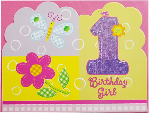 1st Birthday Butterfly Invitation 6pcs PI0309 Pink An