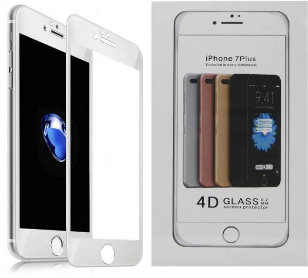c8dad2f21 4D Ballistic Glass Screen Protector for Apple iphone 7 Plus - White