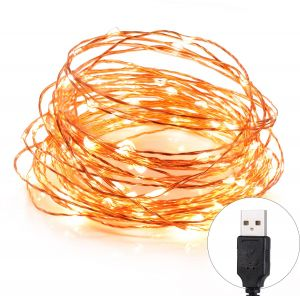 Toplus 10m 33ft Starry Copper Wire String Lights Usb Powered Waterproof 100 Leds Warm White For Decoration
