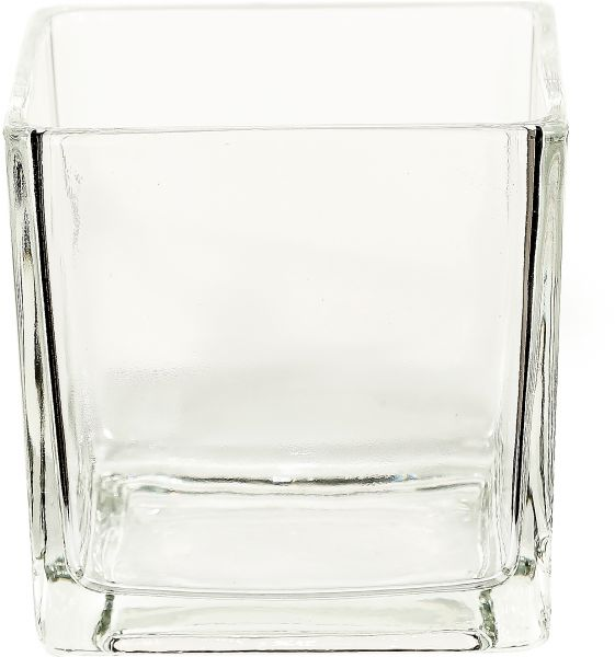 Tommyscreativelifestyle Square Glass Vase Clear Home Decor