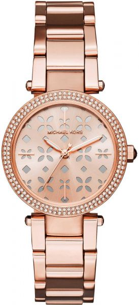 8176d576d Michael Kors Mini Parker Women's Rose Gold Dial Stainless Steel Band Watch  - MK6470