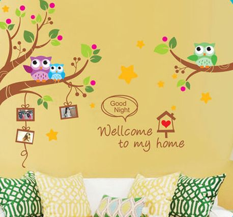 Wall Stickers Owls Welcome To My Home Children\'s Room Kindergarten ...