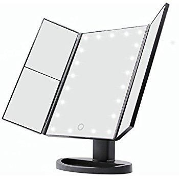 Lighted Vanity Mirror 21 Super Bright Leds Touch Screen Tri Fold