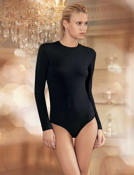 e083877181 Sahinler Snap Crew Neck Long Sleeve Bodysuit For Women