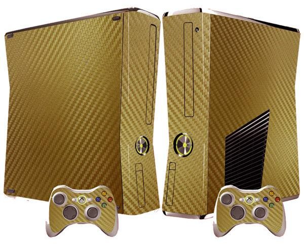 Gold Skin Cover Sticker For Xbox 360 Slim Console Controller