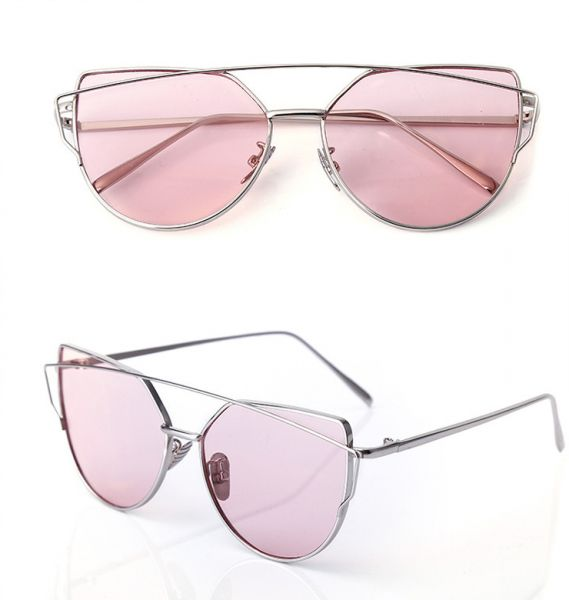e878a30dd5f Mirrored Cat Eye Sunglasses Designer Style Silver Frame Ocean Pink ...