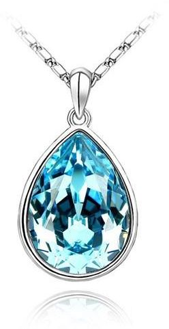 712e2110a3 Swarovski Elements 18K White Gold Plated Necklace encrusted with Blue  Swarovski Crystals, SWR-372