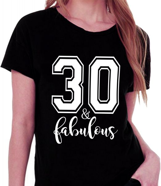 61ac96571 30 and Fabulous Black Round Neck T-Shirt For Women | Souq - UAE