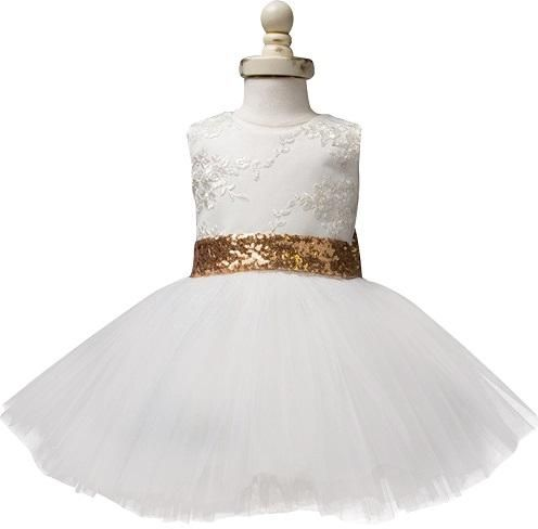 f52d969d6c white and gold big bow tulle party Dress For Girls